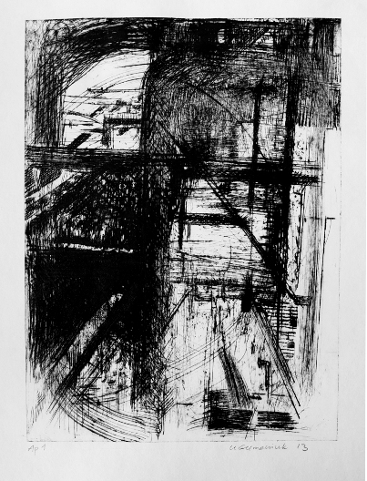 Pipe Forms N1, Dry Point by Ulyana Gumeniuk